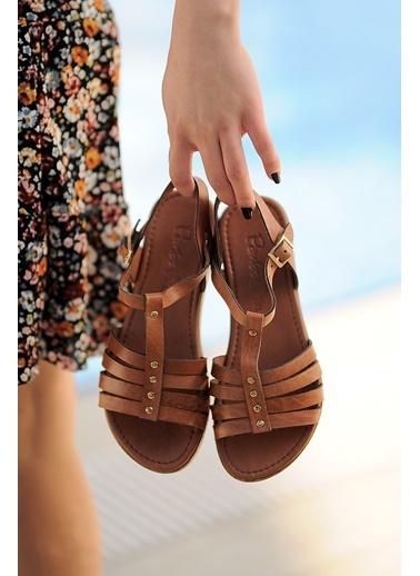Pembe Potin A207-20 Kadın sandalet A207-20 Taba
